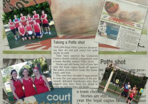 Potts Lawyers female staff wins in the Coporate Games charity netball competition. Newspaper cutout collage.
