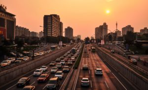 Drink Driving Icon | Heavy Traffic in a Sunset Cityscape Setting