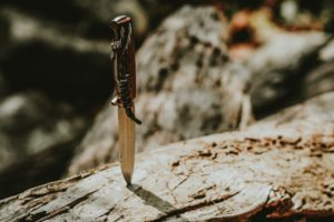 Possession of a Knife Icon   Knife Stuck in a Tree Log