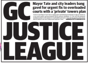 Photograph of Newspaper titled GC Justice League